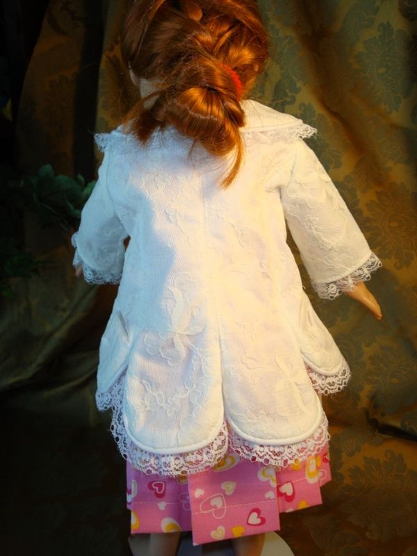 A prototype for an 1800's bustle outfit for my granddaughter. Made in lace.