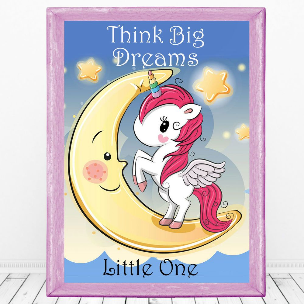 Think Big little One, Unicorn Wall Art Print, Nursery Picture ...
