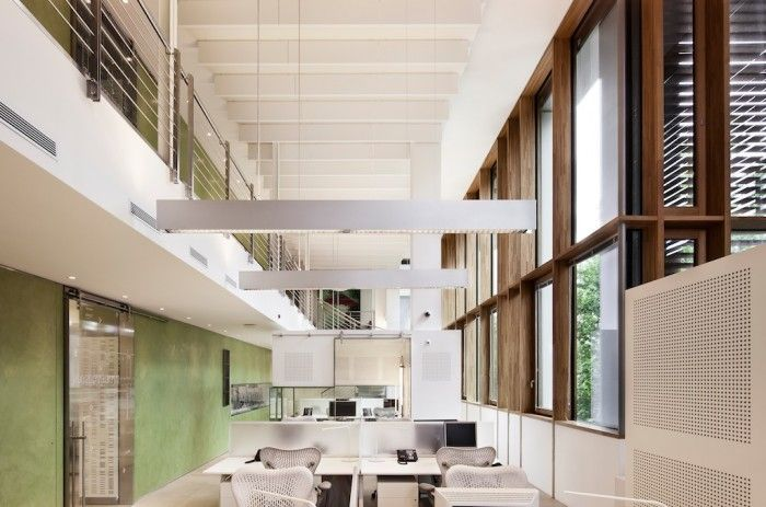 Autodesk office in Milan, Italy. 100% powered by low-impact hydroelectric plant, 30 percent reduction in water consumption. Sustainably designed office.
