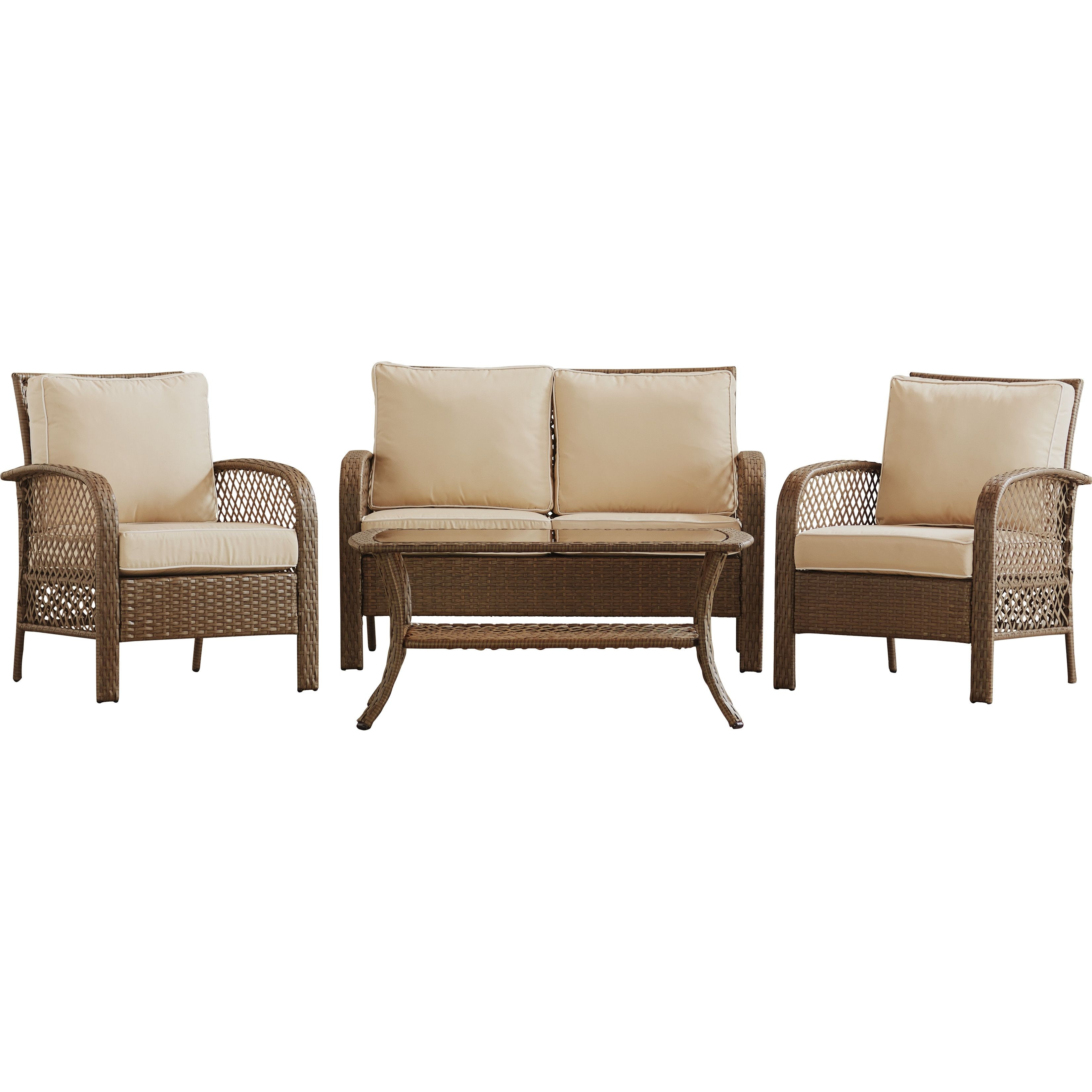 Beachcrest Home™ Niceville 4 Piece Deep Seating Group with Cushion