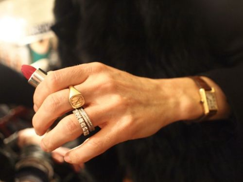Eternity bands, signet ring, tank watch - love this classic look!