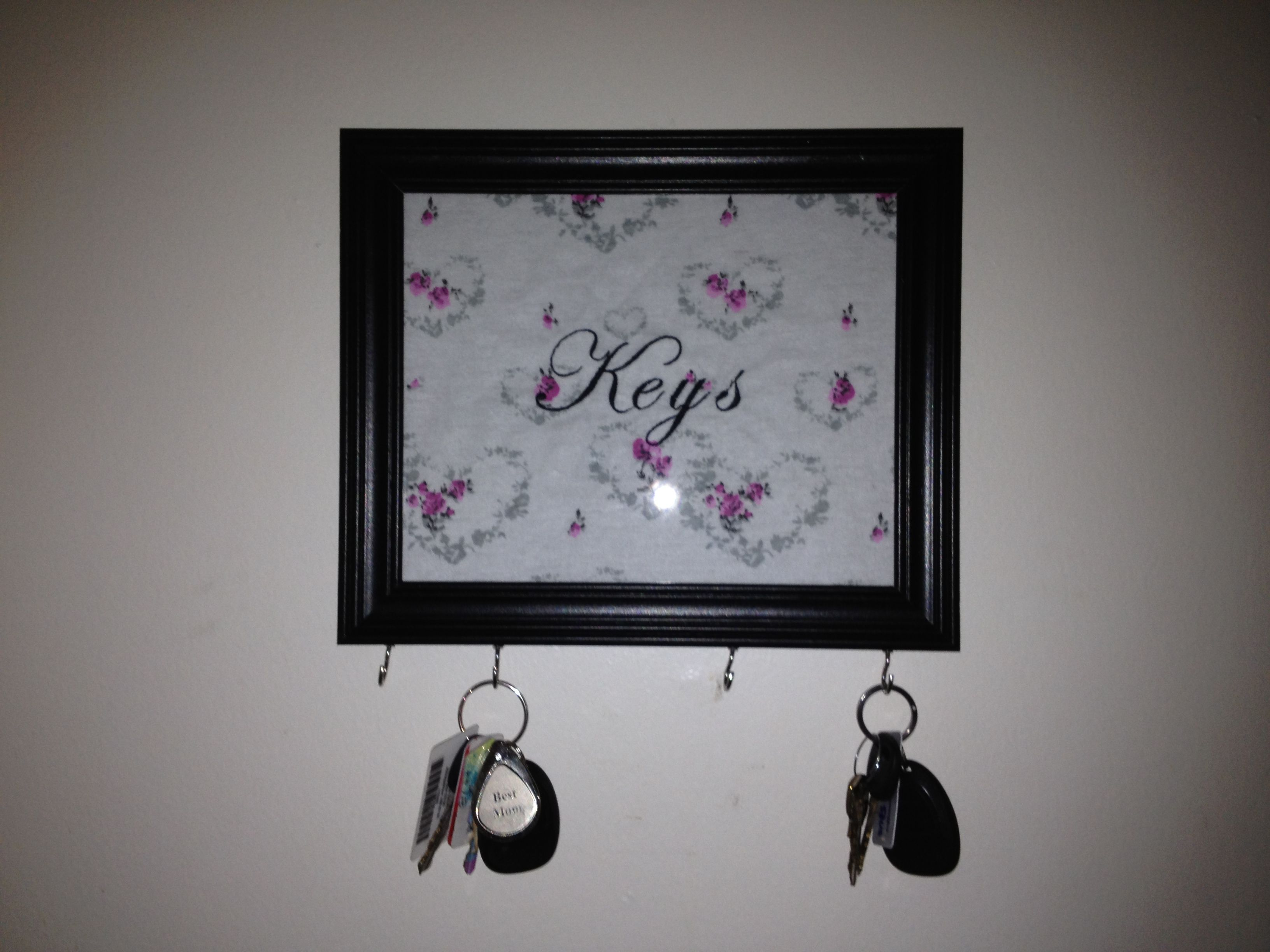 DIY Key holder made from a cheap 5 frame from Walmart