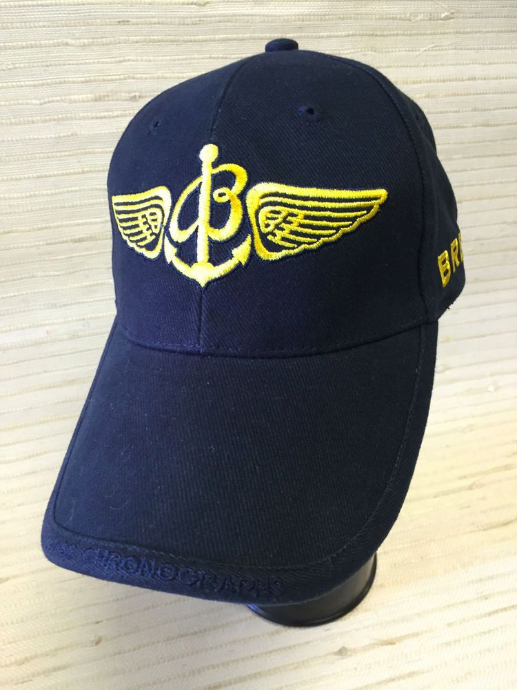 Breitling Wings 1884 Navy Blue Gold Ball Cap Hat Authentic 1 Sz Fits All New Breitling Ball Cap Blue Gold Caps Hats