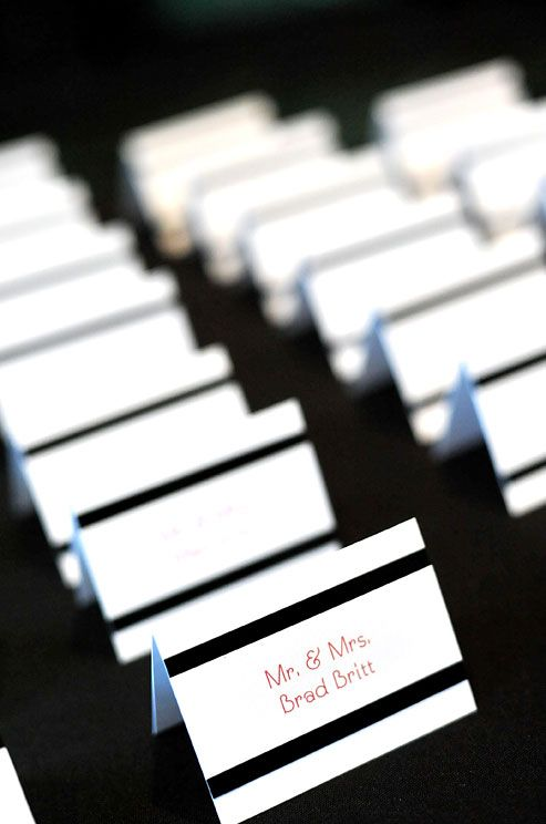 Black Stripes Add A Graphic Accent To These White Place Cards With Red Print See