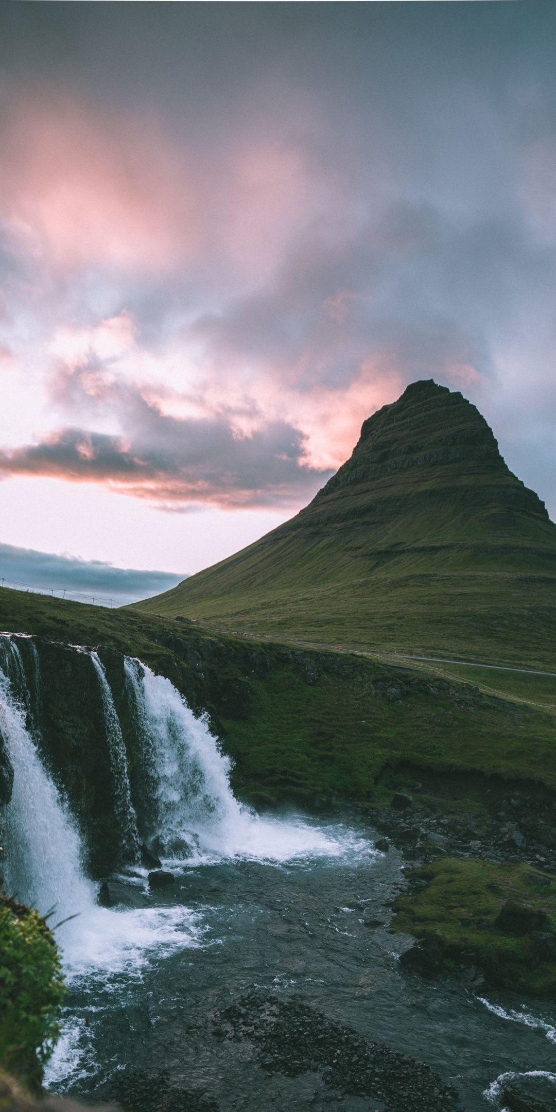 Waterfall, mountains, sunset, 1080x2160 wallpaper Scenic