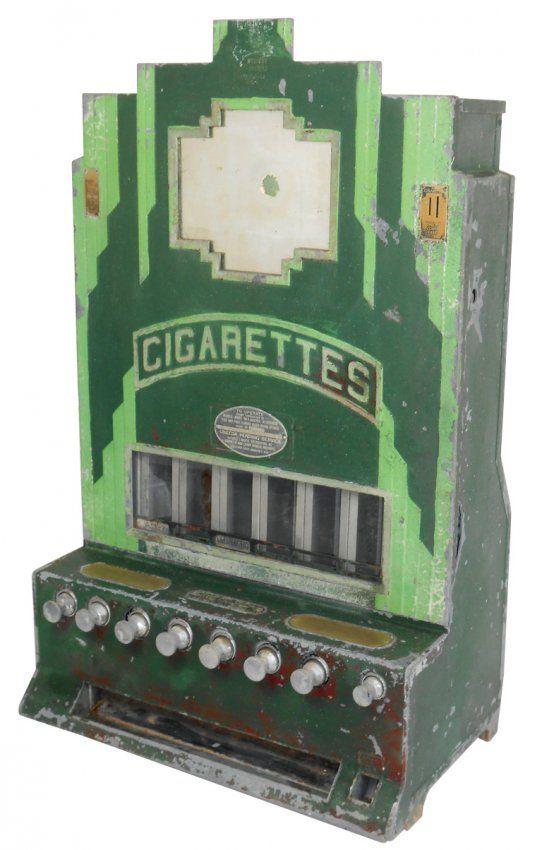 Coin-operated machine, Art Deco cigarette vendor, mfgd : Lot 393