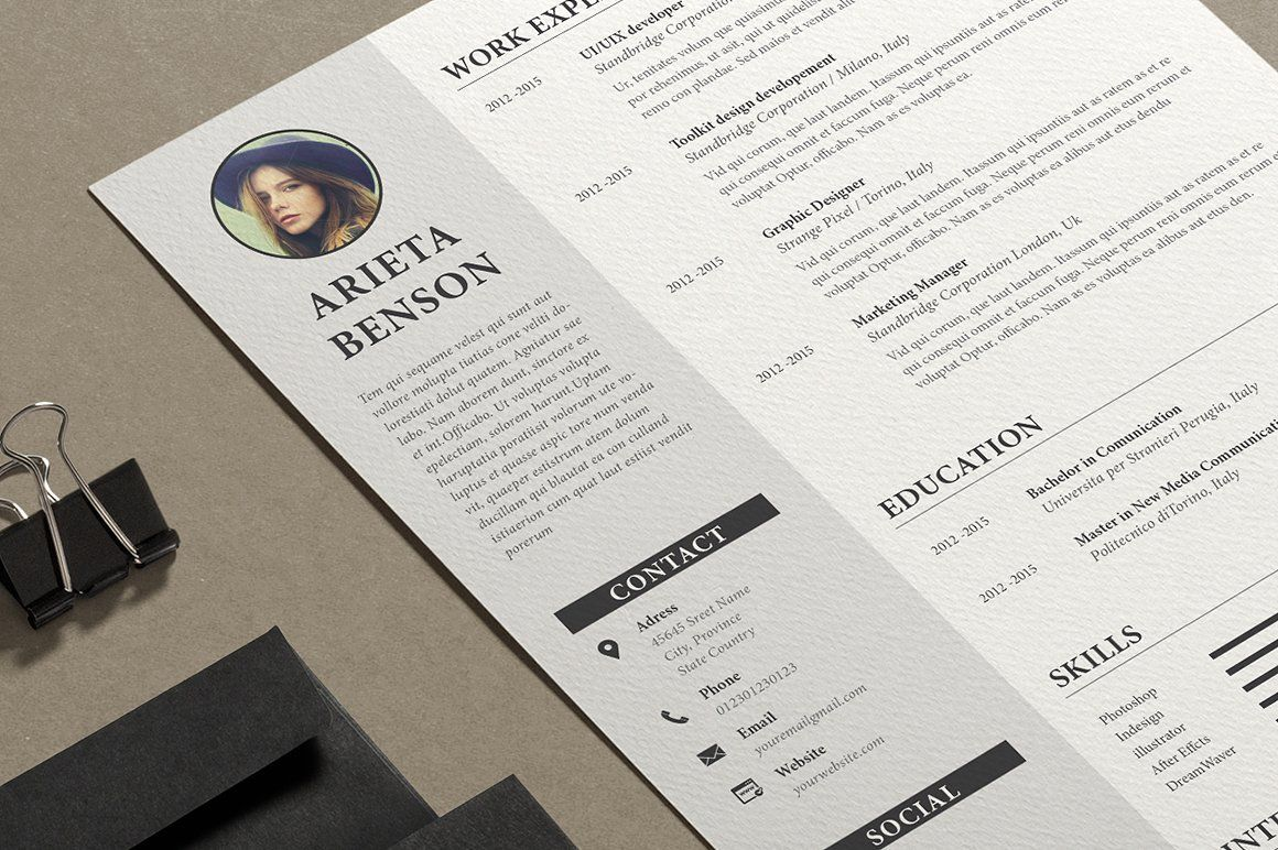 ResumeCv Ms Word by on creativemarket