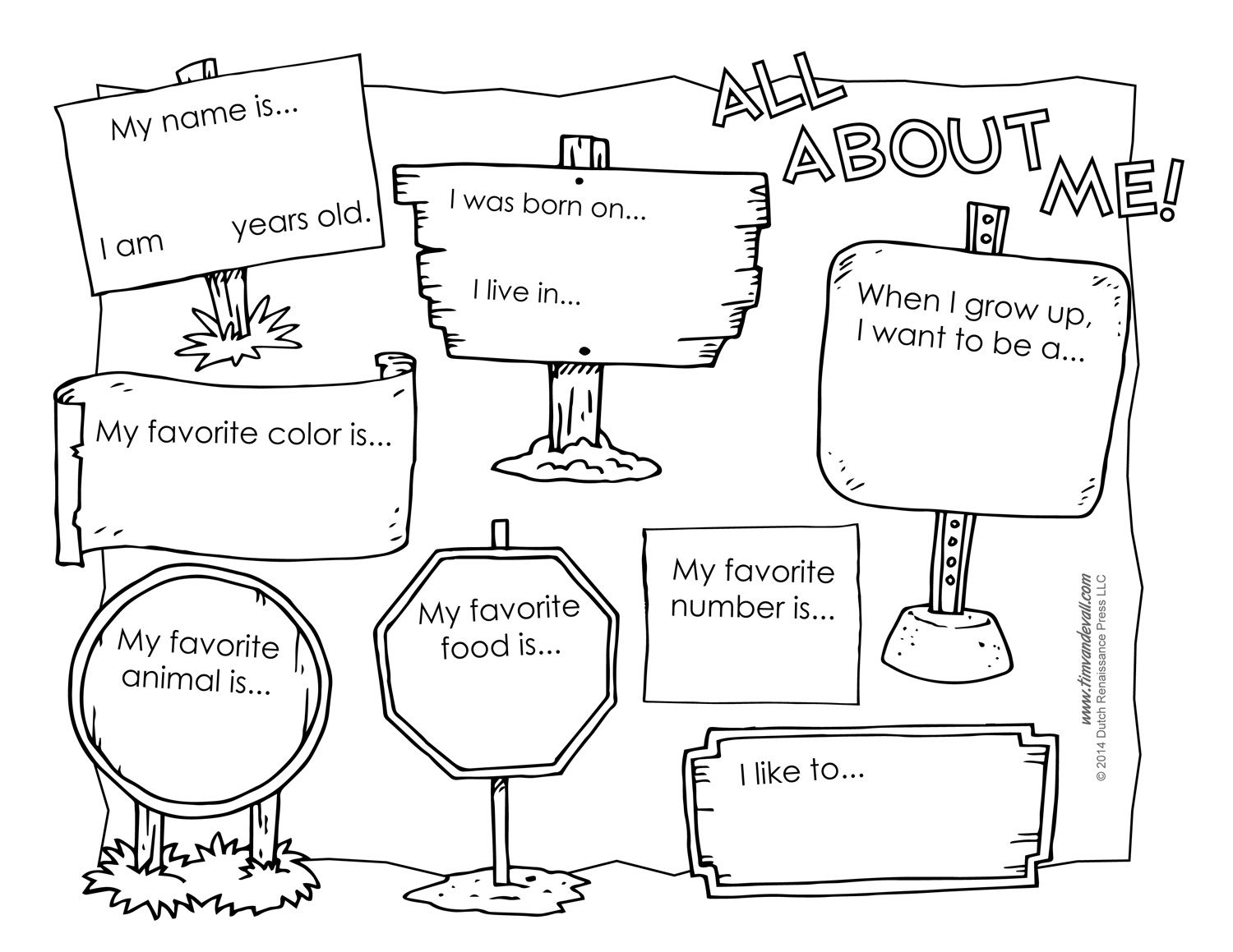 All About Me Worksheets Black And White Versions