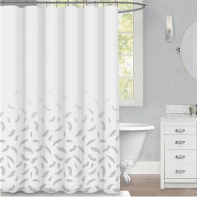 Feather 72 X Shower Curtain In Silver
