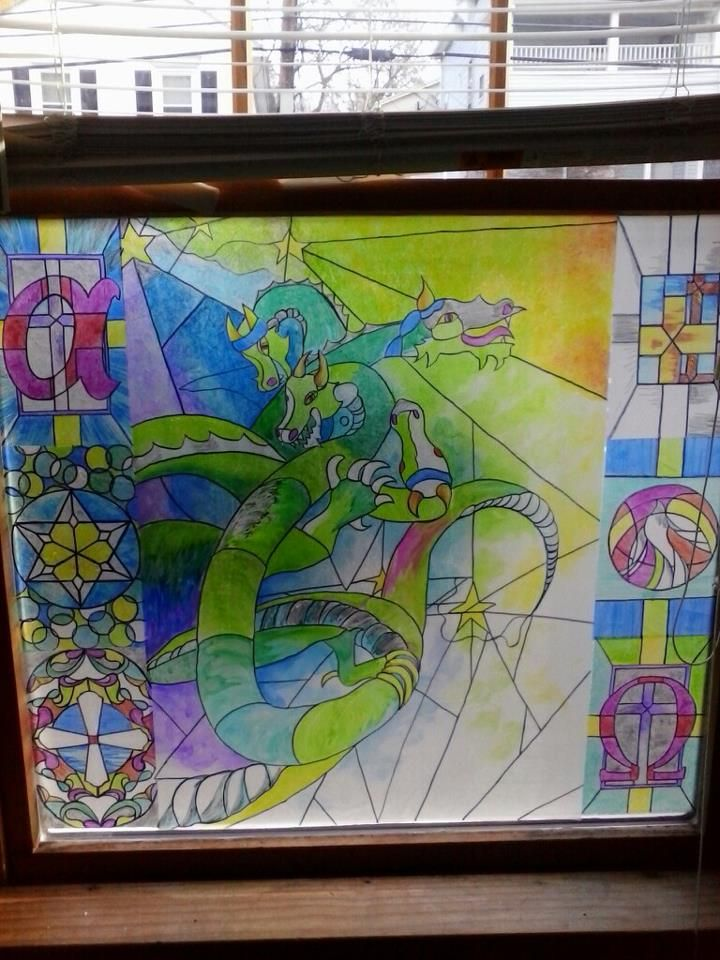 Faux Stained Glass Sharpie On Clear Contact Paper Stained
