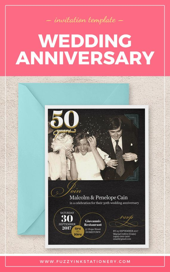 50th Anniversary 50 Years Wedding Printable Party Golden Invite Invitation Template