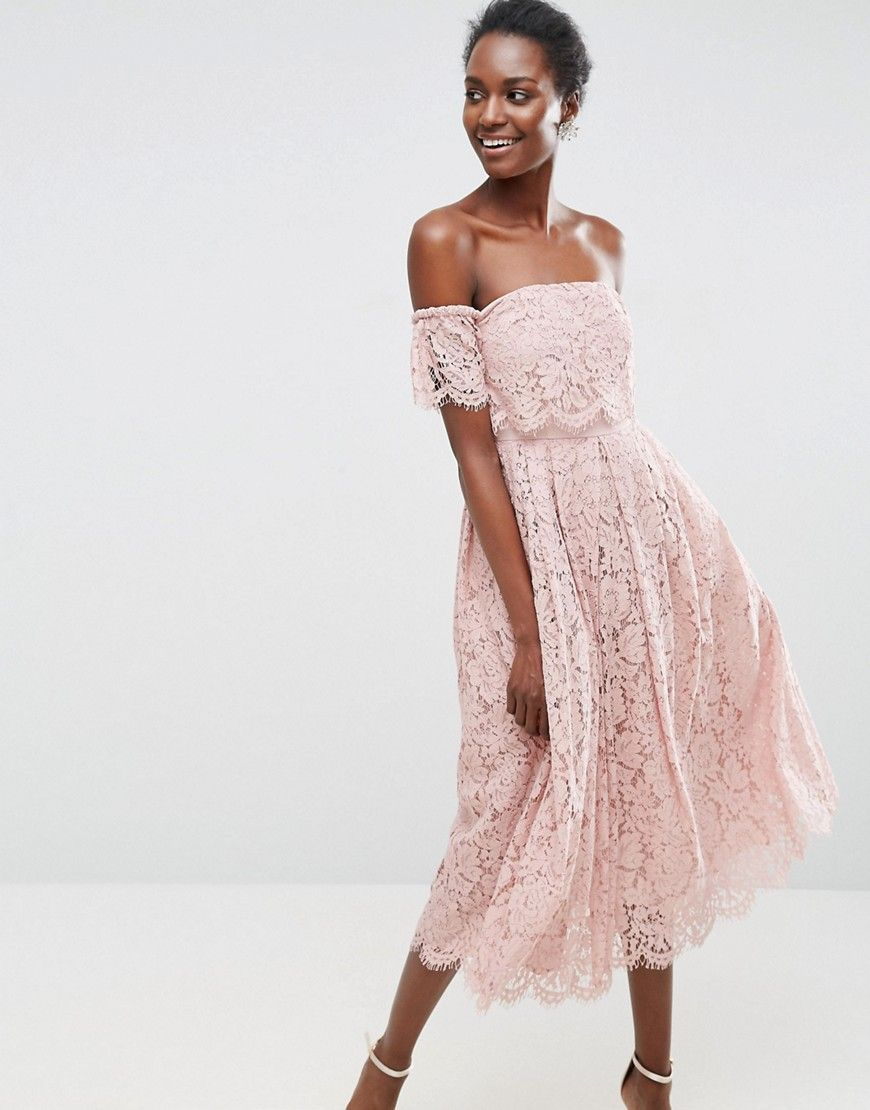 ASOS Off the Shoulder Lace Prom Midi Dress - Beige   Asos de, Damen ... a44204ba87