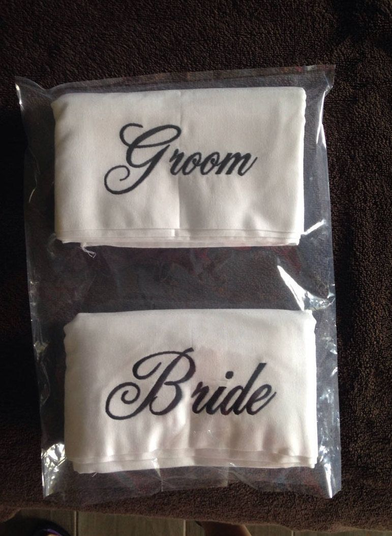 Embroidered Bride & Groom Pillowcases Wedding Gift Bridal Shower gift Mr Mrs His Hers Hubby Wifey Personalized pillowcases