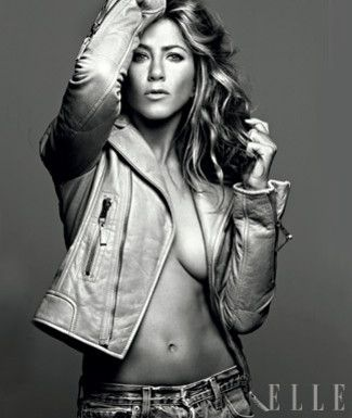 Jennifer Aniston in Helmut Lang's gray leather motorcycle jacket