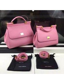 974000e71f Dolce   Gabbana Small Medium Epsom Calfskin Sicily Bag Pink ...