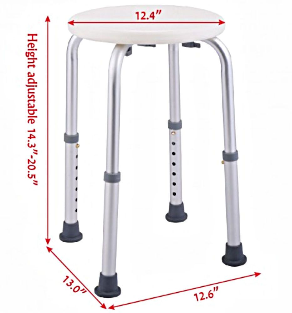 Adjustable Shower Seat 7 Heights Stool Chair Bench Transfer Medical ...