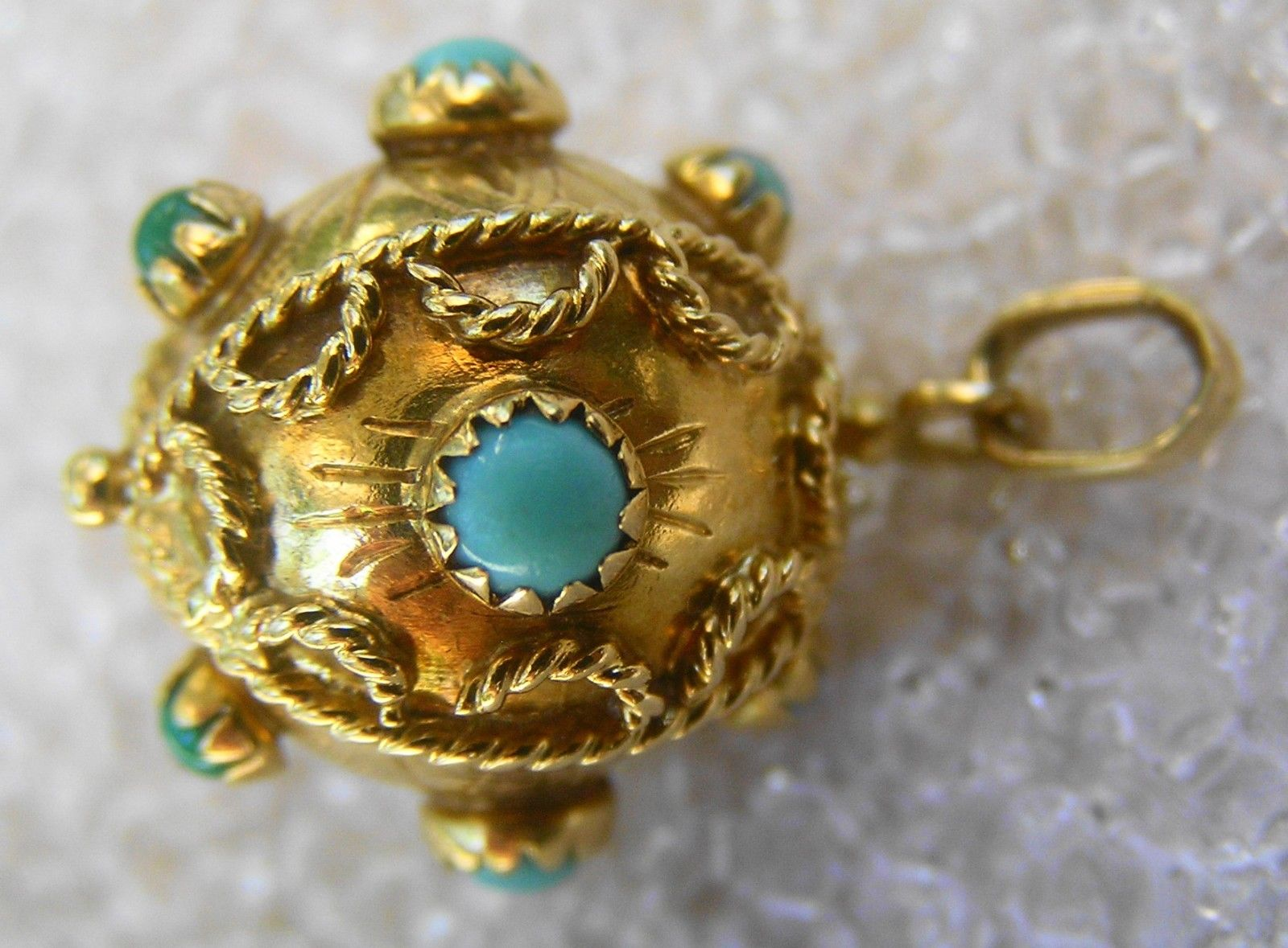 Antique 18 Carat Gold And Turquoise Etruscan Pendant Fob Charm Ebay