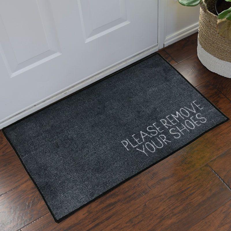 Please Remove Your Shoes Message Doormat Grey Indoor Door Mats Door Mat Entrance Mat
