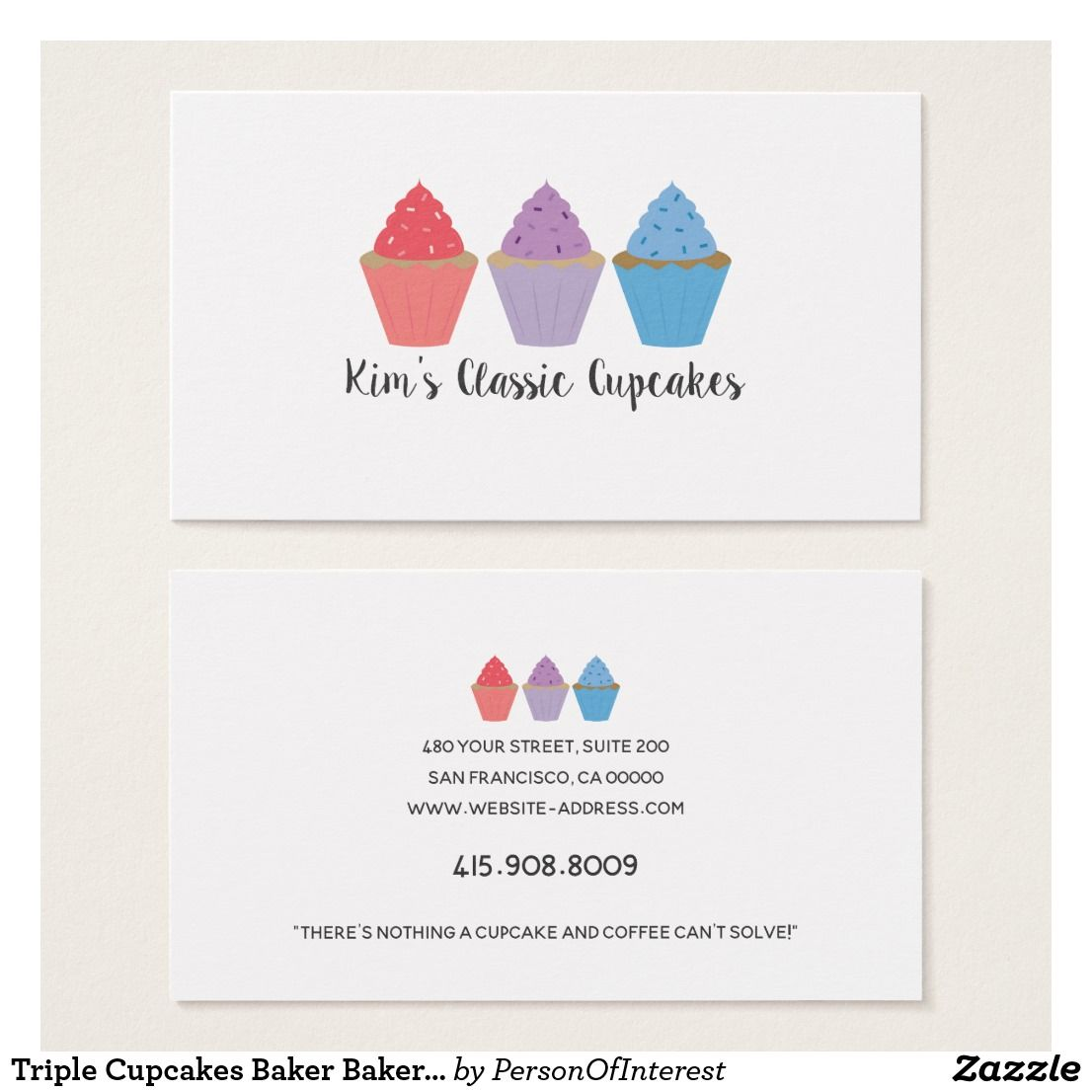 Triple Cupcakes Baker Bakery Chef Cater Whimsical Business Card ...