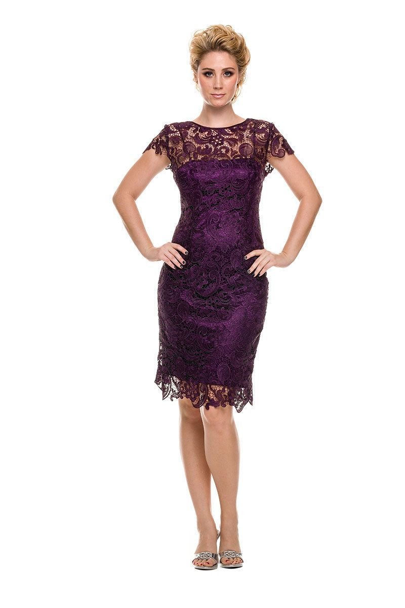 Elegant simple short mother of the bride dress eggplant in