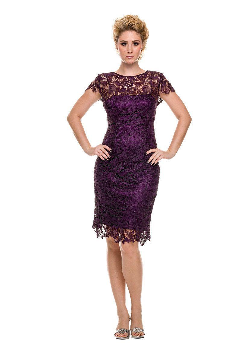 Elegant simple short mother of the bride dress eggplant in