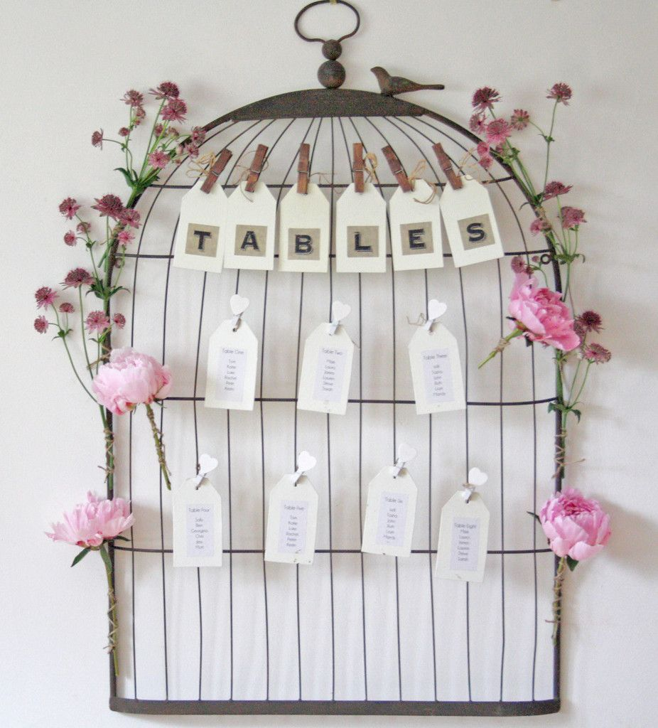 Vintage Birdcage Wedding Table Plan | Vintage birdcage, Table plans ...