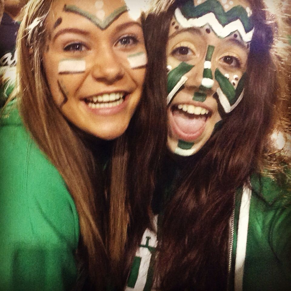 Face paint from Walmart is a must during football season