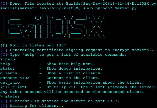 EvilOSX – A pure python, post-exploitation, remote administration