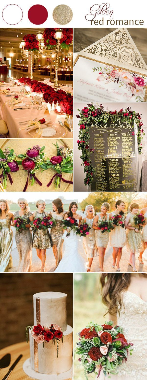 Gold and Red Wedding Color Ideas with Invitations and Favors | Red ...