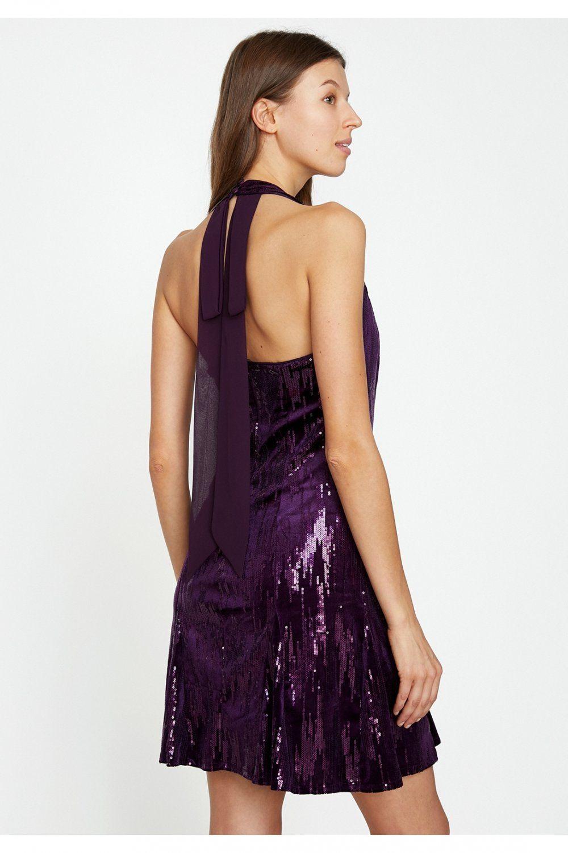 Koton Sirt Dekolteli Mor Pul Detayli Mini Abiye Elbise Elbisebul Elbise Mini Elbiseler The Dress