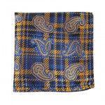 $38.00,Silk Pocket Square-Dark Navy, Blue, Gold Paisley, Plaid