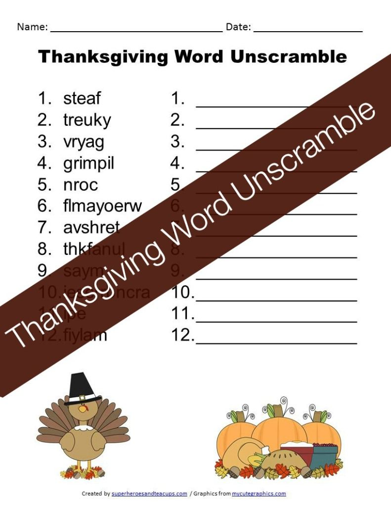 Thanksgiving Word Unscramble Free Printable For Kids Superheroes