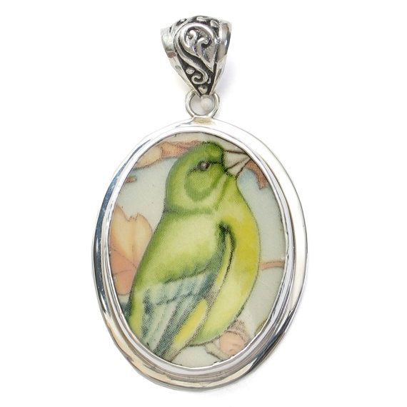 Broken China Jewelry Wedgwood Garden Birds Greenfinch Finch Bird Sterling Lg Pendant