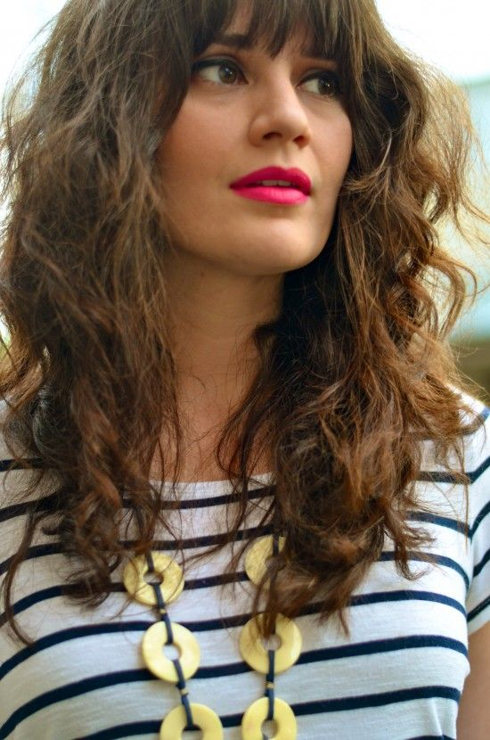 Curly hair with bangs and a bright lip {Lindsay Living