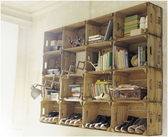 Rustic Shelves... Link Also Has Bed Made Of Pallets To Use