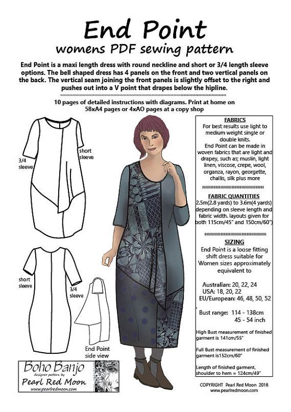 END POINT, multiple Large sizes, womens PDF sewing pattern   clothes ...
