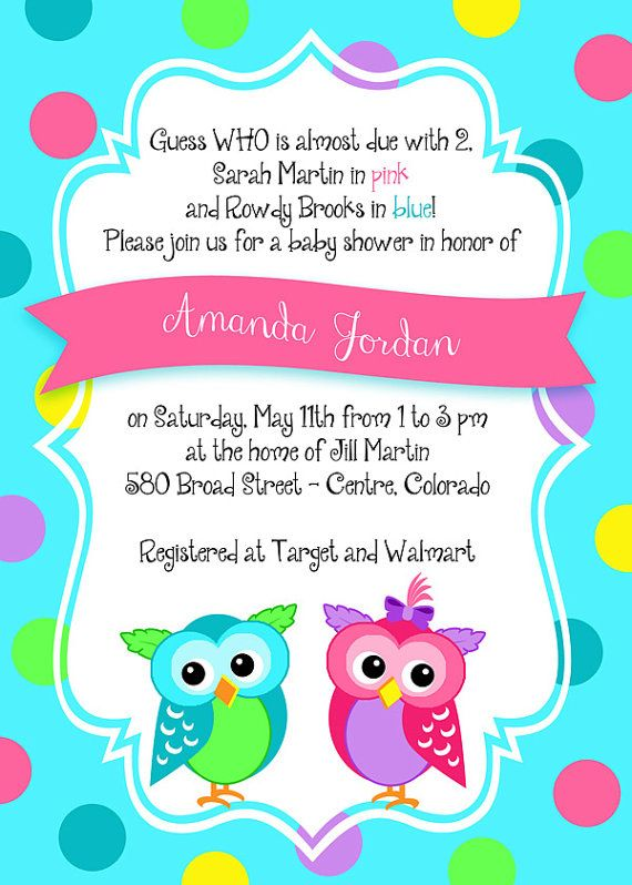 Printable owl twins boy girl baby shower invitation custom items similar to printable 5x7 boygirl twins baby shower or birthday invitation custom personalized on etsy filmwisefo Image collections