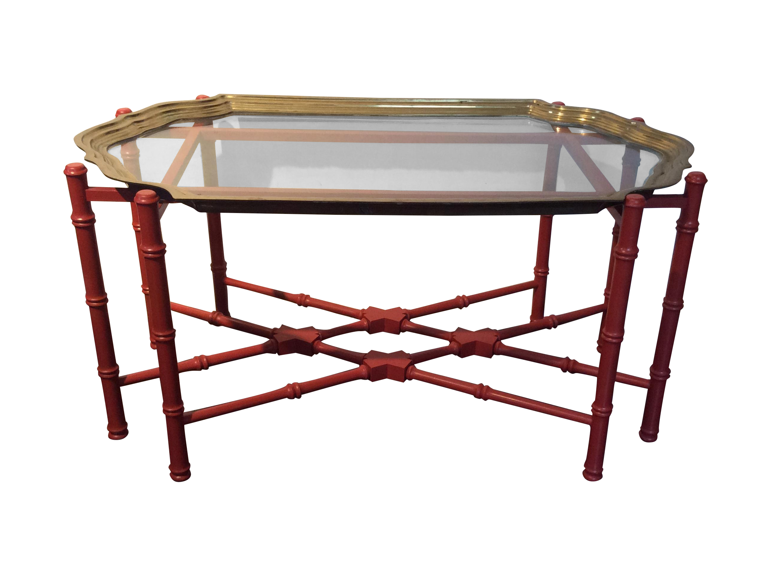 Very Smart Vintage Coffee Table With Separate Glass Top Bordered With Heavy Brass Frame Base Is Painted In Dark Coral Coffee Table Coffee Table Vintage Table [ 1936 x 2592 Pixel ]