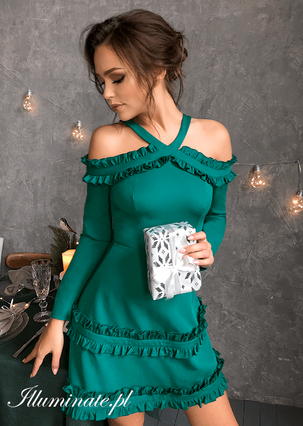 Shila Zielona Sukienka Dresses Cold Shoulder Dress Evening Dresses