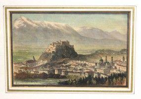 Holzstich Salzburg Festung