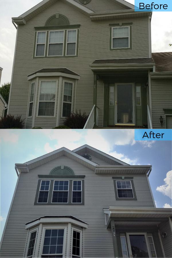 Before And After Replacing Builder S Grade Vinyl Windows With Broken Seals With New Marvin Infinity Windows In Burlington Nj With Images Window Vinyl Patio Door Installation Metal Roof Installation