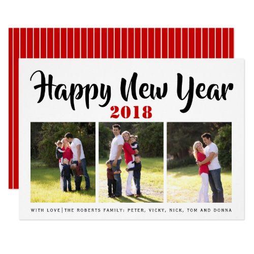 happy new year 2018 handwritten typography photo card