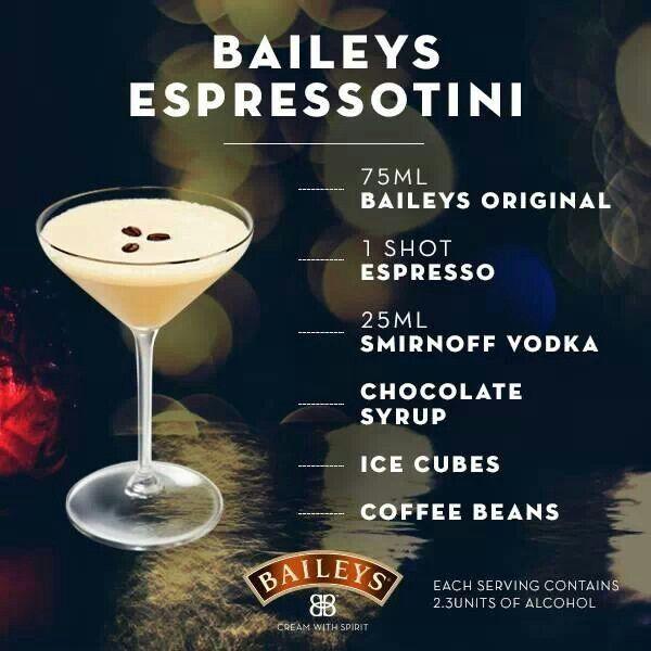 Baileys Espressotini Martini Recipe Recipes Drink Recipes