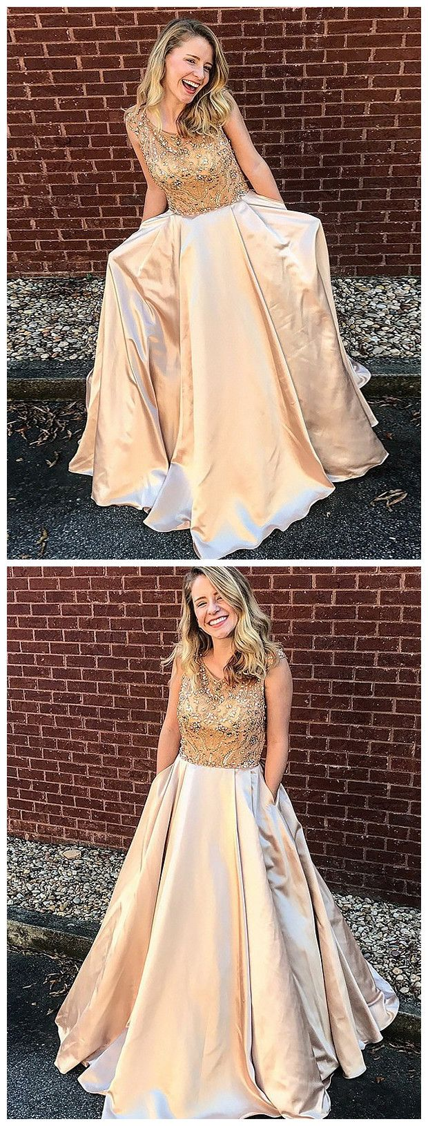 Elegant prom dresses aline scoop gold beading long prom dress