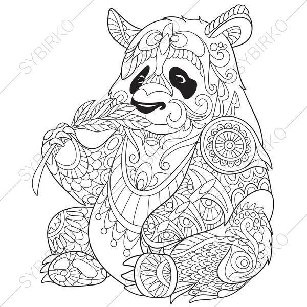 adult coloring pages panda bear zentangle doodle coloring