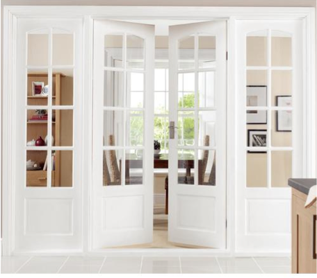 Nice White Wood Panelled French Doors With Small Lattice French