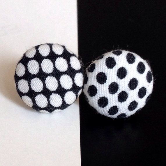 Pop art dots black and white mod 60s earrings