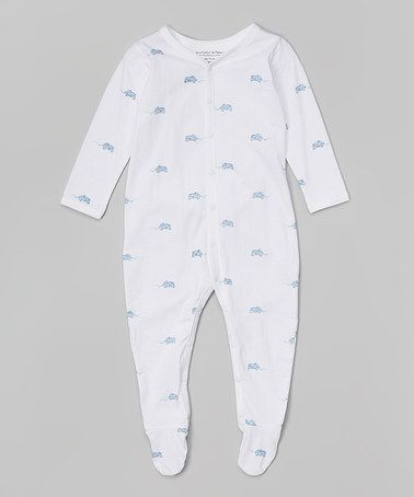 Look what I found on #zulily! White & Blue Vintage Cars Organic Footie by Pumpkin & Peter #zulilyfinds