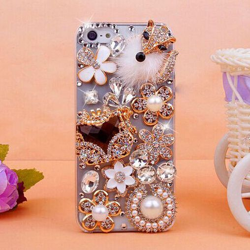Find More Phone Bags & Cases Information about Handmade Luxury Bling Plush fox diamond 3D Diamond Pearl Case Cover For iphone4 4s 5 5s,free shipping,High Quality Phone Bags & Cases from Shenzhen Smile Trade Electronic Co. Ltd. on Aliexpress.com