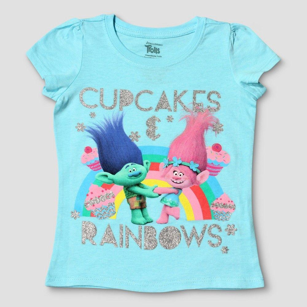 957cf567 Toddler Girls' Trolls Cupcakes and Rainbows Short Sleeve T-Shirt - Light  Blue 3T